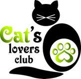 猫的恋人俱乐部的商标 免版税图库摄影