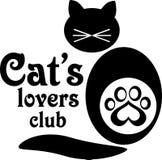猫的恋人突然行动或宠物店的商标 免版税库存照片