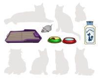 猫的项目 盘 香波 碗食物,水,机械钟表机构老鼠 免版税图库摄影
