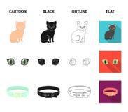 猫眼,衣领,猫的,在丝带的一枚奖牌一个房子 在动画片,黑色,概述,平的样式的猫集合汇集象 免版税库存照片