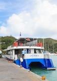 猫罗斯轮渡在塞舌尔群岛 免版税库存照片