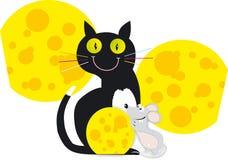 猫老鼠乳酪月亮两一黄色黑灰色 免版税图库摄影
