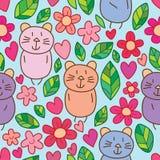 猫花小叶子爱逗人喜爱的无缝的样式 向量例证