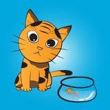 猫要吃鱼 库存照片