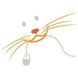 猫计算机鼠标红色s微笑 免版税库存图片