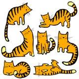 猫逗人喜爱的得出的现有量例证集 俏丽的全部赌注收藏 传染媒介幼稚手dra 库存照片