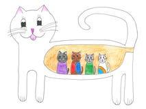 猫逗人喜爱的愉快的小猫照顾怀孕 免版税库存照片