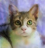猫面孔绘画  森林横向油画河 免版税库存图片