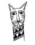 猫顶头原始纹身花刺 库存照片