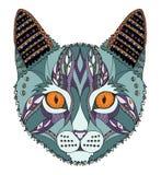 猫顶头zentangle传统化了,导航,例证,徒手画的penc 库存图片