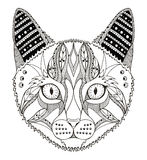 猫顶头zentangle传统化了,导航,例证,样式 库存图片