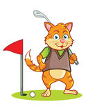 猫高尔夫球运动员动画片 库存照片