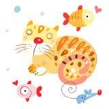 猫鱼滑稽的鼠标 图库摄影