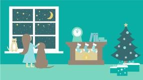 猫,尾随女孩在窗口靠近等待圣诞老人,平的传染媒介例证的壁炉和圣诞树 库存照片