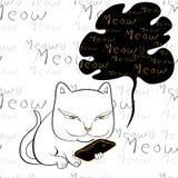 猫读书智能手机传染媒介 图库摄影