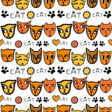 猫`枪口的条纹图形,在黄色和橙色颜色 皇族释放例证