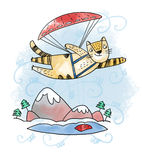 猫滑翔伞 库存照片