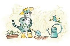 猫-花匠 图库摄影