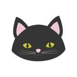 猫画象逗人喜爱的桃红色耳朵黄色眼睛 免版税图库摄影