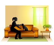 猫伴随妇女 库存照片