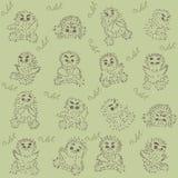 猫头鹰之子-无缝的纹理 库存图片