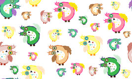 猫头鹰五颜六色和蓬松样式 库存图片