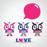猫头鹰动画片贺卡。爱。 免版税库存照片