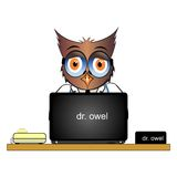 猫头鹰博士工作在书桌上的 免版税库存图片