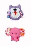 猫头鹰和大象工艺,辅助部件 库存图片