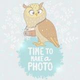 猫头鹰和照相机 图库摄影