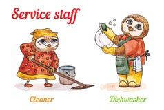 猫头鹰和洗碗机擦净剂 传染媒介水彩集合 库存照片