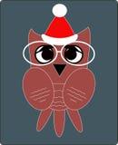 猫头鹰在圣诞老人Clauss帽子,一个平的样式 免版税库存图片