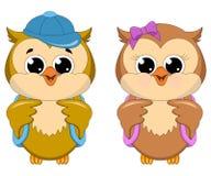 猫头鹰学校女孩和男孩 免版税图库摄影