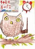 猫头鹰教算术 画房子山的子项 皇族释放例证