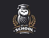 猫头鹰教育商标-传染媒介例证 装饰设计象征图象例证向量 库存例证