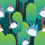 猫头鹰森林无缝的Pattern_eps 免版税库存图片