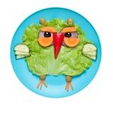 猫头鹰由新鲜蔬菜做成在蓝色板材 库存图片