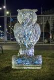 猫头鹰的冰雕象 免版税库存照片