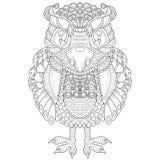 猫头鹰的手拉的例证在zentangle样式的 库存例证