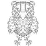 猫头鹰的手拉的例证在zentangle样式的 皇族释放例证