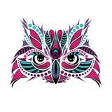 猫头鹰的被仿造的色的头 非洲/印地安人/图腾/纹身花刺设计 库存照片
