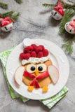 猫头鹰薄煎饼圣诞节早餐 库存图片