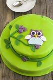 猫头鹰蛋糕 库存照片