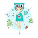 猫头鹰衣服的女孩  图库摄影