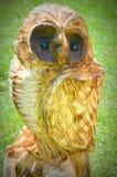 猫头鹰被雕刻的锯艺术 库存照片