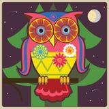 猫头鹰通用在晚上 免版税库存照片