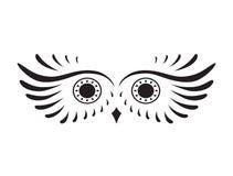 猫头鹰黑抽象剪影  免版税库存图片