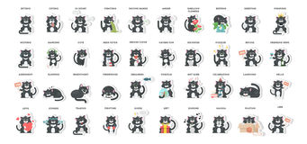 猫emoji集合 向量例证