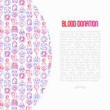 献血,与线象的互相援助概念 向量例证