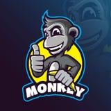 猴子吉祥人商标与现代例证概念样式的设计传染媒介徽章、象征和T恤杉打印的 聪明的猴子 向量例证